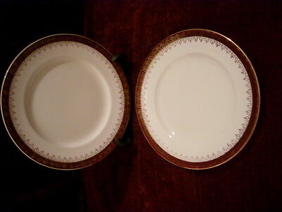 2 Alfred Meakin Side Plates Burgundy/gold rim