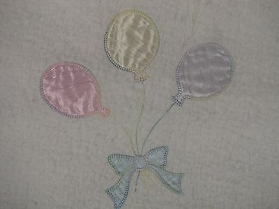 QUILTEX Baby Boy Girl White 3 Balloons Blanket ACRYLIC UNION MADE in USA EUC
