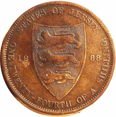 U K  Great Britain  JERSEY  1/24 shilling  1888 VICTORIA about VERY FINE  (3183)