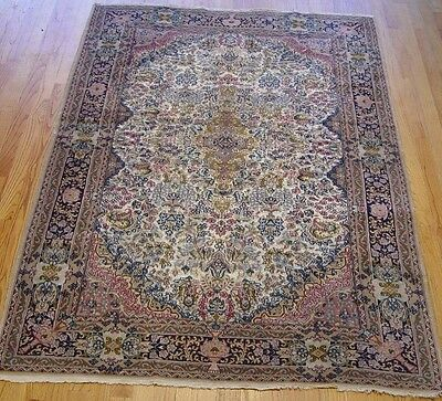 "4'2"" x 6'1""  Hand Knotted China Pakistani Wool & Silk Oriental Rug"