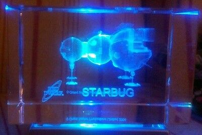Red dwarf starbug laser etched crystal paper weight with led display stand boxed