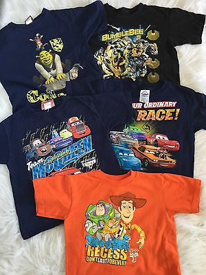 Lot of 5 kids shirt lot size 5-8 Disney Pixar, Cars, Toy Story, Shrek, and more