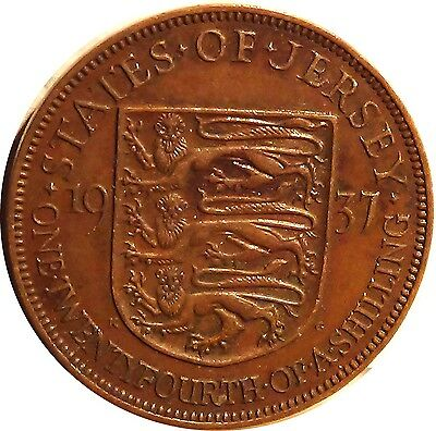 U K  Great Britain  JERSEY  1/24 shilling 1937 George VI about EXTRA FINE (3185)