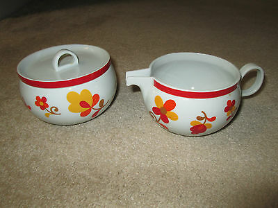 RARE! Block Hearthstone China Vista Alegre Parika sugar & creamer. MINT!