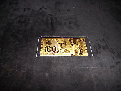 Canada---- $100 Polymer Note 24kt Fine Gold One Hundred Dollar Banknote= = = =