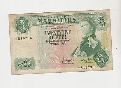 Mauritius 1967 (Nd) 25 Rupees Banknote A5 819796 Banknotes Intern'l Ship $4.99