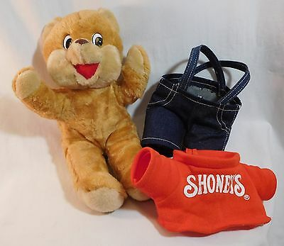 """Vintage 1986 ~ Shoney's Bear ~ Blue Overalls with Red Shirt ~ Stuffed Plush 11"""""""