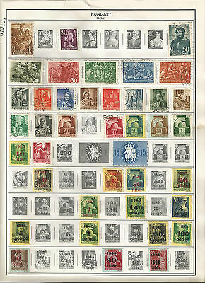 HUNGARY 1943-1946 & 1968-1970  Lot of 108 Stamps Collection on Album Pages