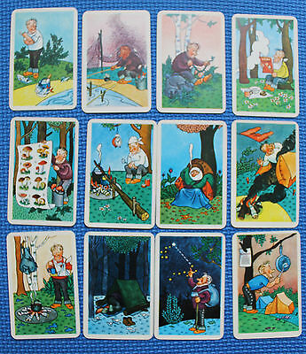 12 Russian  Soviet cards for safety hiking, tourism - comical drawing 1970s