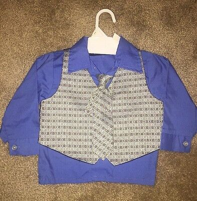 Toddler Boys 3 Piece Dress Shirt Size 2T Royal Blue With Detachable Vest And Tie