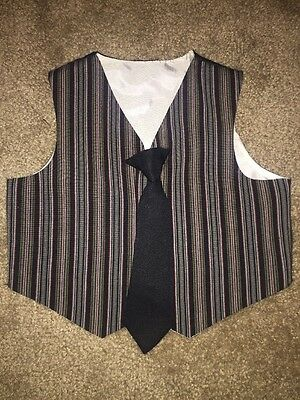 Boys Vest With Clip On Tie Size 2T Black With Red