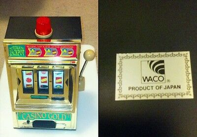 Waco Casino Gold Jackpot Slot Machine & Bank Made in Japan, Metal Body, Works