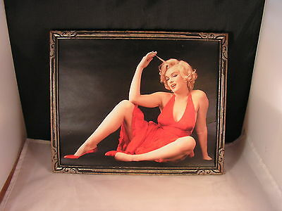 Vintage Picture  Of Marilyn Monroe In Color 9X11 Framed Excellent Cond.