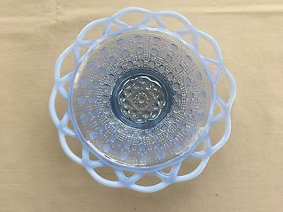 """Vintage Imperial Katy Blue Opalescent Laced Edge Cane Pattern Glass Dish 7"""""""