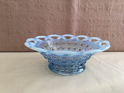 """Vintage Imperial Katy Blue Opalescent Laced Edge Cane Pattern Glass Bowl 6"""""""