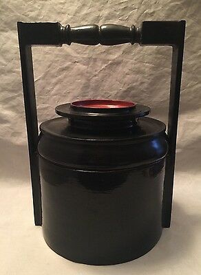 Antique Japanese Black Lacquer Lunch Box Soup Canister with Handle