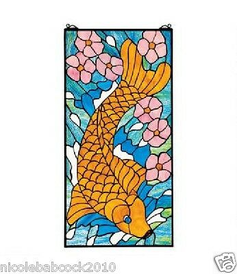 "28.5"" AUTHENTIC ASIAN ZEN Koi FISH POND STAINED GLASS WINDOW PANEL"