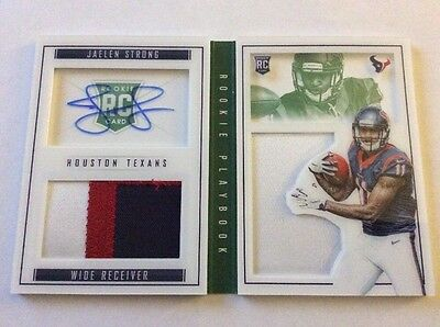 2015 Playbook Jaelen Strong Rookie Playbook Dual Patch Auto # 20/25 Emerald