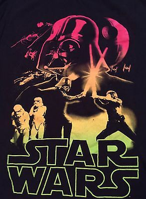 Star Wars Black T Shirt Neon Colors Fifth Sun Large