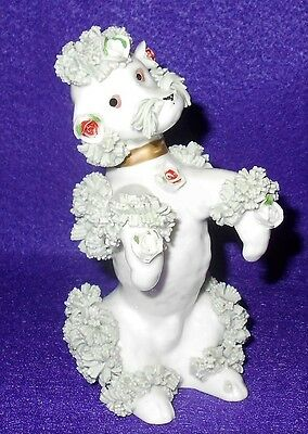 Vintage Mint Green & White Spaghetti Poodle With Applied Roses 5""