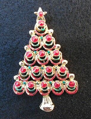 Christmas Tree Pin / Brooch - Gold colored with red and green highlights
