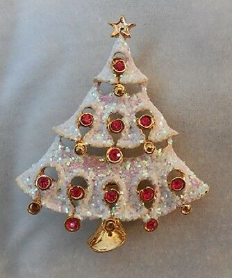 Christmas Tree Pin / Brooch - Sparkling White Glittered tree with red accents