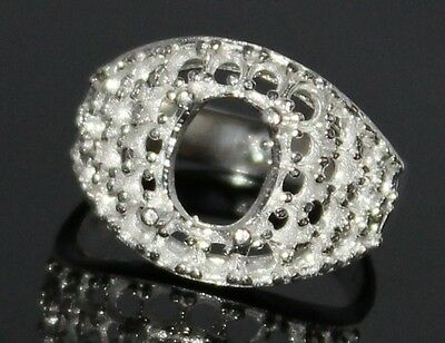 Semi Mount Ring 925 Sterling Silver Engraving Ring Size 7 Us Stone 11X9 Mm Oval