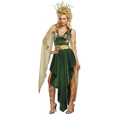 Women's Green and Gold Medusa Costume Size Large New in Package