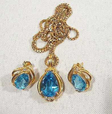 14K Solid GOLD & Diamond Topaz  Pendant & Chain with  Matching Earrings 12.5 gr.