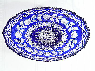 LARGE 12 inch Antique Cut to Clear Cobalt  Blue ABP Crystal Centerpiece Bowl