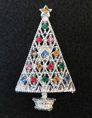 Christmas Tree Pin / Brooch - Beautiful multi-colored stones on silver backround