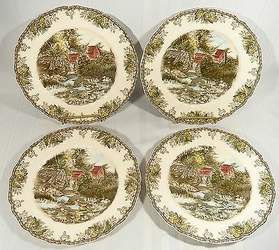 """4 Johnson Bros Friendly Village Lily Pond 10 3/4"""" Dinner Plates MADE in ENGLAND"""