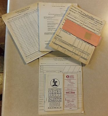 Vtg Illinois Central Railroad Forms Station Timetables Blank Reports Waybill