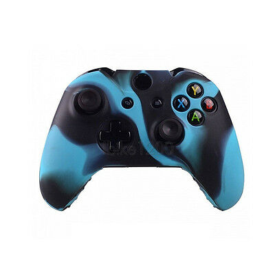 Camo Silicone Protective Skin Cover Case Black-Blue for XBOX ONE Game Controller