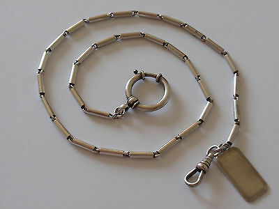 "Antique Sterling Silver Pocket Watch Chain Bolt Ring Clasp Necklace 17"" 23.2g"