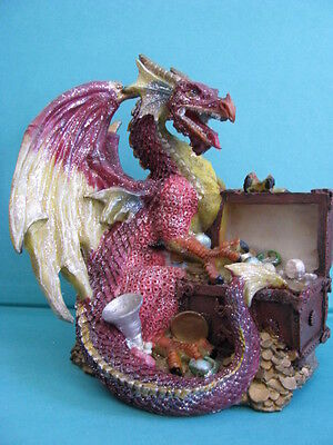 LOVELY   RED DRAGON -with  TREASURE  CHEST -  GLITTER  FINISH