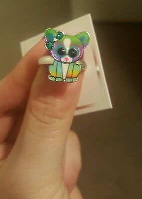 Girl's Justice adorable rainbow chihuahua ring  NWT