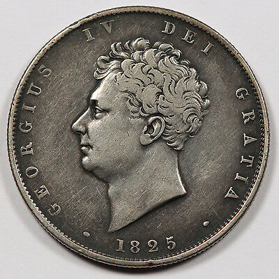 GREAT BRITAIN UK 1825 Silver Half (1/2) CROWN Coin VF/XF KM #695 George IV
