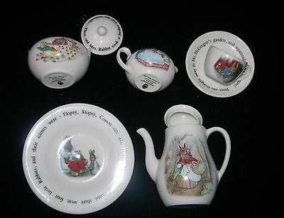 Wedgwood Barlaston Beatrix Potter Peter Rabbit MINIATURE TEA POT Sugar & Creamer