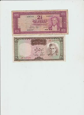Turkey 2 1/2 lira and 20 rials lot of two Circulated Banknote