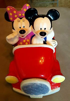 Rare Disney Licensed Mickey & Minnie Mouse Red Convertible Car Cookie Jar