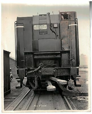 Vintage Milwaukee Road B&W Construction Photo end view of Oil Car