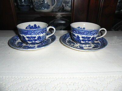 Blue Willow Cup And Saucer, Japan X 2
