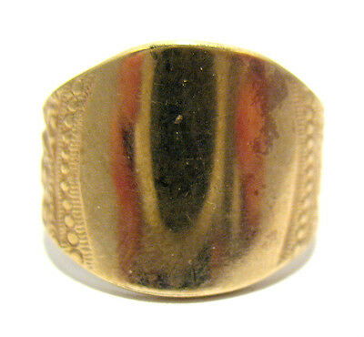 Victorian 10K Gold Filled Signet Initial Ring Size 7  5.1 Grams 15 Mm