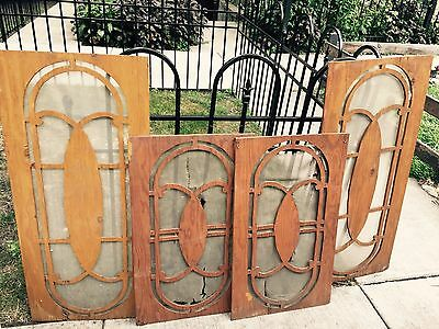 4 Antique Wood Leaded/Stained Glass Window Templates Cut Out Patterns
