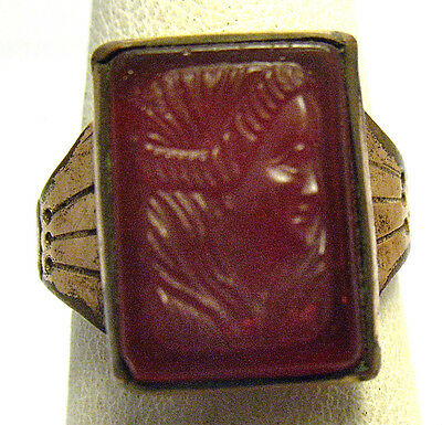 Victorian Gold Filled Carnelian Intaglio Ring Woman Image Size 6.25   3.6 Grams