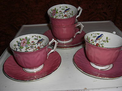 Aynsley Bone China, Cottage Garden/bird Cup  and Saucer ,4 available