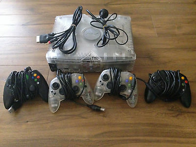 Microsoft Xbox Original Limited Console Complete Bundle + 4 Controllers + MODDED
