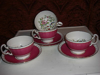 Aynsley Cottage Garden/bird  Cup & Saucer Pink,4 Available