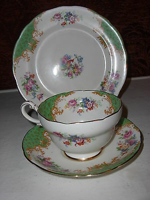 "Paragon ""Rockingham"" Green Tea Cup Trio - cup, saucer, tea plate,4 available"